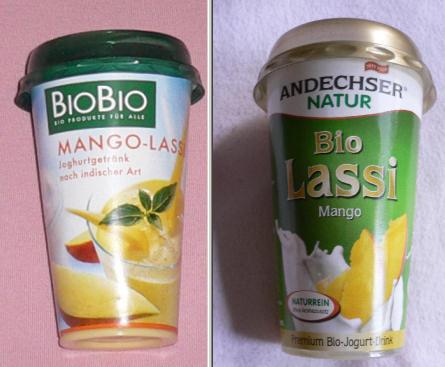Mango-Lassi von BioBio und von Andechser