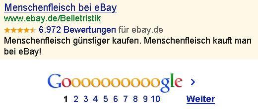 Menschenfleisch bei eBay